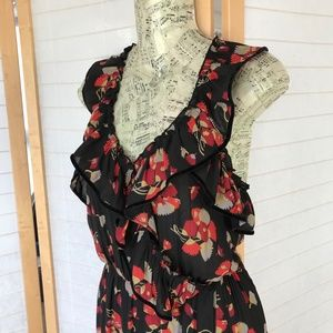 BOGO Maison Scotch Sz XS maxi dress ruffle floral